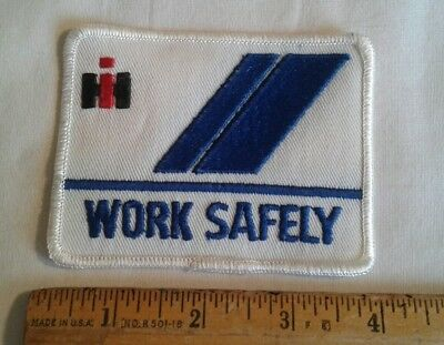 Vintage International Harvester IH Patch Blue Stripe Work Safely Tractor Truck