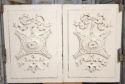 Shabby Carved Wood Panel Matched Pair Antique French Bow Gothic Rosace Carving