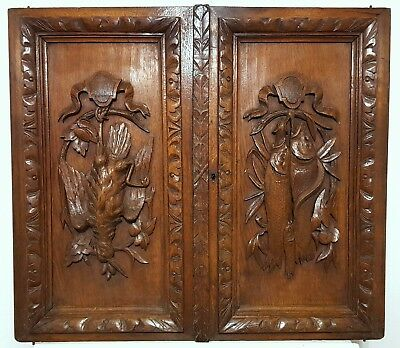 CARVED WOOD CABINET PANEL DOOR MATCHED PAIR ANTIQUE FRENCH HUNTING TROPHY 19th