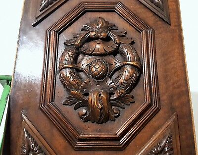 Solid Hand Carved Wood Panel Antique French Gothic Rosace Salvaged Panelling