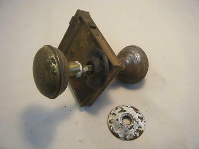 "Antique Cast Iron Door Lock Set/Skeleton Key Type w/Knobs 4 1/4"" by 3 1/2"""