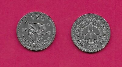 Ghana Rep 10 Pesewas 1975 Xf Cocoa Beans Within Circle,rampant Lion At Center Of