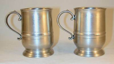 Pair of Vintage Miniature Tulip Mugs Cast Pewter By Crown & Rose London England