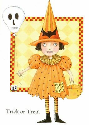 Mary Engelbreit-TRICK OR TREAT Witch-Halloween Greeting Card w/Envelope-NEW