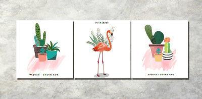"16x16"" 3Parts Home Wall Decor A flamingo Art Printed Painting on Canvas 1285"