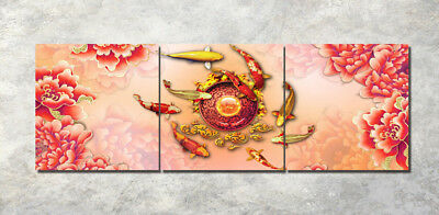 "Rich fish 16x16"" Art Printed Painting on Canvas 3Parts Home Wall Decor 1294"
