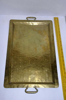 Antique Russian Imperial Army Logo Arts Crafts Hand Hammered Brass Serving Tray