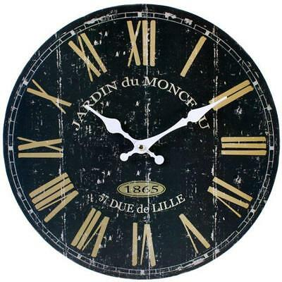 Rustic Wall Clock Shabby Black French 34cm Analogue Quartz Wooden Hanging Chic