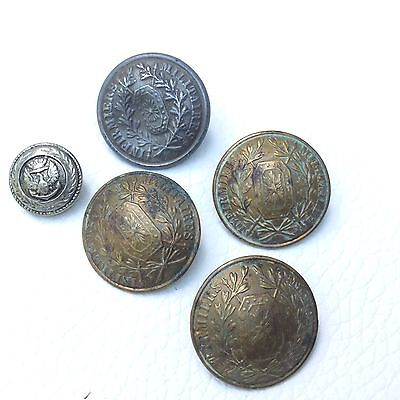 5 Boutons Anciens Militaria Infirmières Militaires  Antique French Buttons