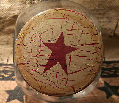 Primitive Country Crackle Tan with Barn Red Stars Glass Cookie Canister