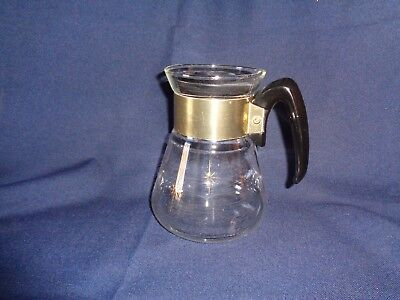 MCM Corning Pyrex 6 Cup Clear Glass Coffee Pot Tea Gold Atomic Star Burst
