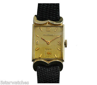 Vintage 40's Large Men Wittnauer Watch Fancy Lugs  Gold Filled Case Rare Dial