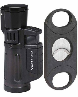 Vertigo by Lotus Cyclone 3 4 Torch Lighter 64rg Cigar Cutter Gift Box Black
