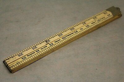New Vintage Rabone Chesterman No. 1176 Brass & Boxwood 3ft Folding Rule