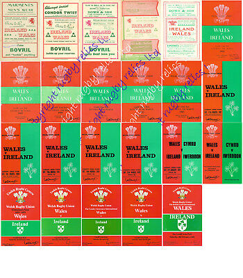WALES v IRELAND 1946-1989 WELSH & IRISH RUGBY PROGRAMMES GOOD+ CONDITION