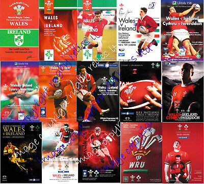 WALES v IRELAND 1991-2017 WELSH & IRISH RUGBY PROGRAMMES GOOD+ CONDITION