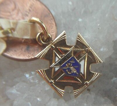 VTG Knights of Columbus Rolled Gold-plate and Enamel Charm Pendant NOS has tags