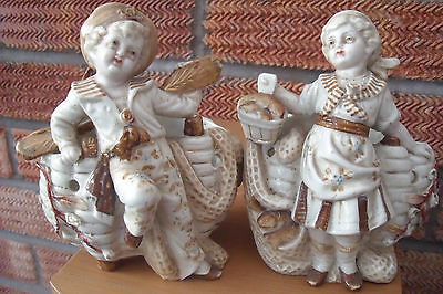 Pair of German Boy & Girl Spill Vase/Match Holders Sailor Boy & Girl with Fish.