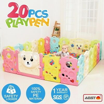 20 Sided Panel Baby Playpen Interactive Baby Room Kids Toddler Safety Door