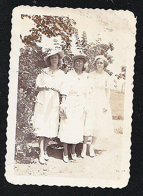 Vintage Antique Photograph Three Women in White Outfits Standing in the Garden
