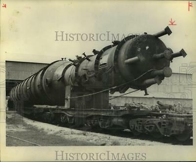 1974 Press Photo Huge Process Column Fabricated in Mosher Steel Plate Division.