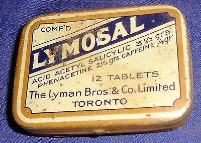 DP061 Vtg Lyman Bros. & Co. Ltd. Toronto ON Lymosal Tablets Tin w/ Hinged Lid