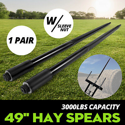 "Two 49"" 3000 lbs Hay Spears Nut Bale Spike Fork Pair Tine Black Sleeve included"