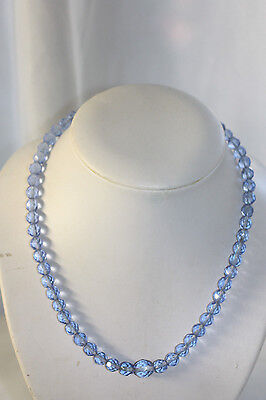 Vintage Art Deco Faceted Blue Glass Beaded Necklace