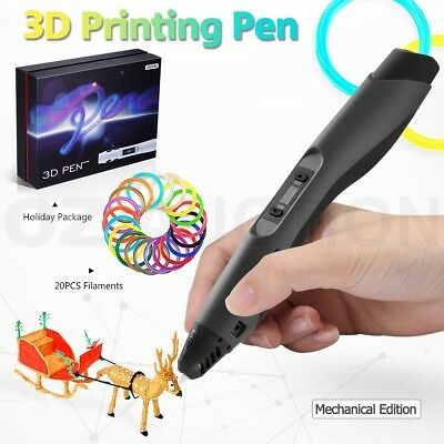 Ailink 3D Printing Pen Drawing Gift with Shovel and 20 PCS Filaments - Black