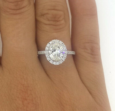 2.25 Ct Oval Cut D/si1 Diamond Solitaire Engagement Ring 14K White Gold
