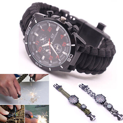 Camo Paracord Survival Watch Bracelet With Compass Flint Fire Starter Whistle