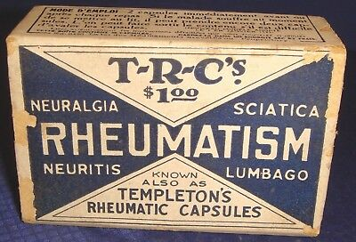 SE226 Vtg Templeton's Rheumatic Capsules Box Toronto ON 1923