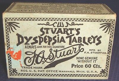 SE227 Vtg Stuart's Dyspepsia Tablets Pills Box Fort Erie ON