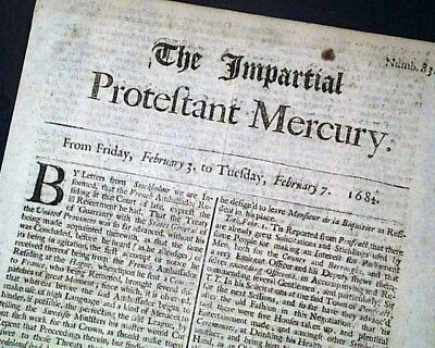 Very Rare 17th Century PROTESTANT 335 Years Old 1682 London England Newspaper