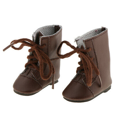 14 inch Doll Shoes Fashion Brown Lace up Boots for 14'' AG American Doll Doll