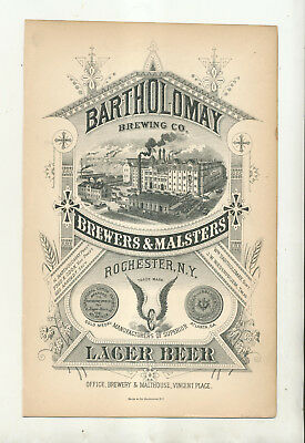 Bartholomay Brewing Company Vincent Place Rochester Ny Advertising Card Ftzhgh
