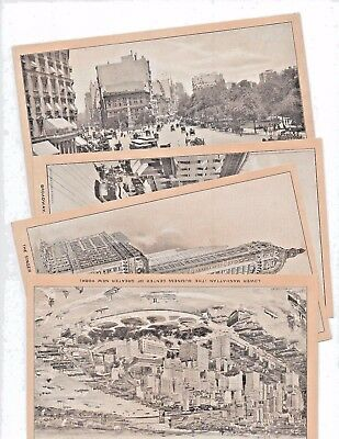 c1903 NEW YORK 4 SINGER ADVERTISING CARDS Horse Car Trolley antique photo NY USA