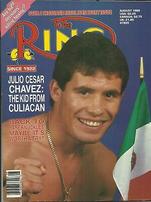RING MAGAZINE: 1988 August (Julio Cesar Chavez to front cover), superb/clean!