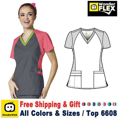 WonderWink Flex [XXS-3XL] Women's Medical V-Neck Trinity Color Block Scrub Top