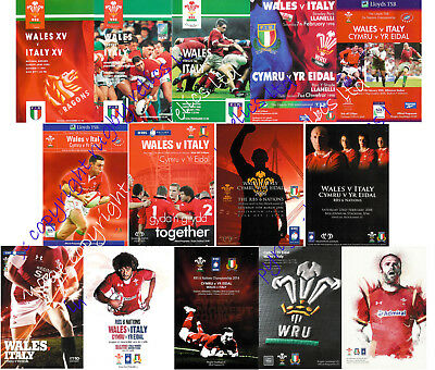WALES v ITALY 1992-2016 WELSH & ITALIAN RUGBY PROGRAMMES GOOD+ CONDITION