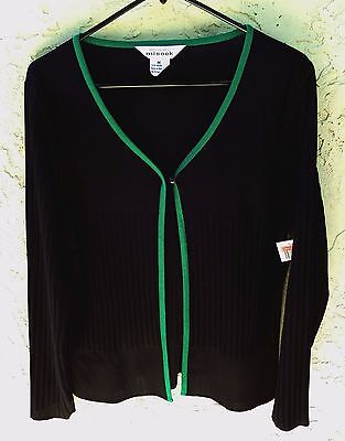 "~NWT EXCLUSIVELY MISOOK sz M ""GREEN & BLACK"" L/S JACKET~ 40"" BUST $249 RETAIL!!!"