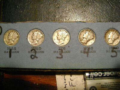 1931-S Mercury Dime In Fine) Condition.rare.you Pick The One U Want.buy 1 Or All