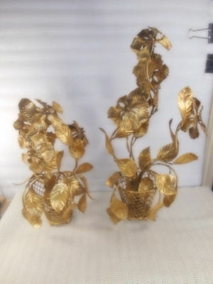 2 Vtg Hollywood Regency Italian Gilt Tole Leaf & Flowers in Pot Floral Gold Leaf