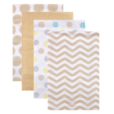 Luvable Friends High-quality Flannel Receiving Blankets Tan Dots, 4 Count NEW