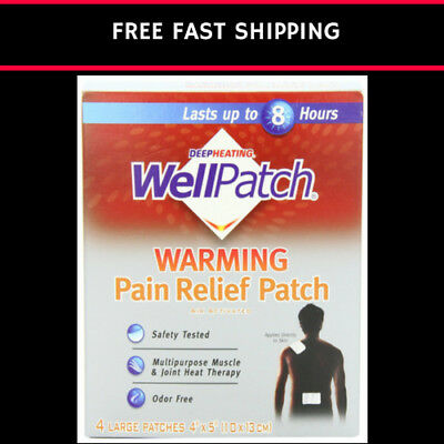 WellPatch Warming Pain Relief Heat Patch 4 large patches 5x4IN (13x10 cm) each