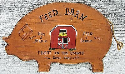 Vintage 12x17 Handcrafted Painted Solid Wood Pig Feed Barn Sign Plaque FREE S/H
