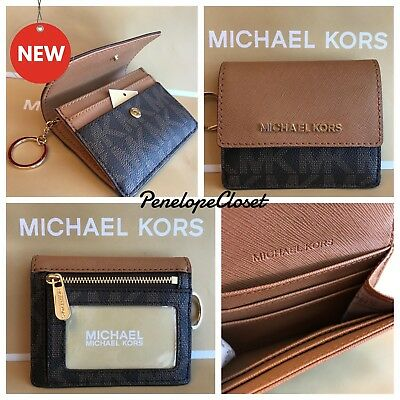 Nwt Michael Kors Pvc Jet Set Travel Card Case Id Key Holder In Brown/acorn