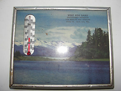 Antiuqe Vintage Advertising Thermometer,west Side Dairy,1948Calendar,sauk City