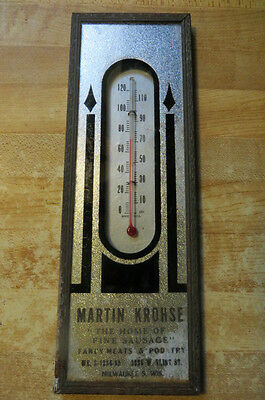 Martin Krohse,the Home Of Fine Sausage,fancy Meats,advertising Glass Thermometer