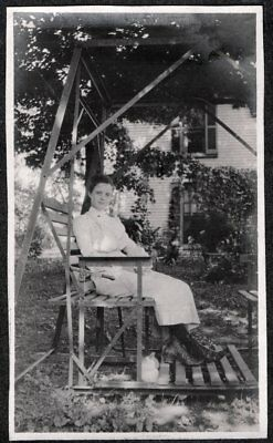 Vintage Photograph 1900's Antique Metal Lawn Swing Chairs Girl Texas Old Photo